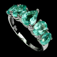 Ring Blue Apatite Genuine Natural Gems Sterling Silver Size R 1/2  US 9