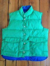 Vintage 80s Womens Fully Reversible Goose Down Puffer Ski Vest Green Blue L