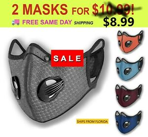 (2) Sport Cycling Face Mask w/ Active Carbon Filter Breathing Valves, Washable