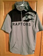 NBA Toronto Raptors Majestic Shoot Around Short Sleeve Hoodie Large Black Grey