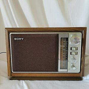 Vintage Sony Tabletop AM FM Radio  Model ICF-9740W Wood Finish Tested Works