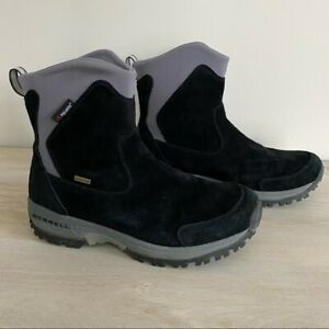Merrell Tundra Waterproof Black Thinsulate Polartec Suede Boots Performance
