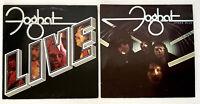 """FOGHAT Vinyl LP Lot of 2 Album LIVE, Stone Blue 70s Bearsville Records 12"""" VG"""