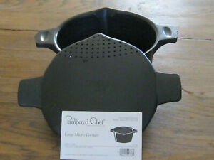 PAMPERED CHEF LARGE 2 QT MICRO COOKER/STEAMER - PREOWNED - VG - RETIRED