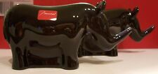 New in Box Baccarat Crystal Noah's Ark Rhinoceros - Rhinos - Midnight - Set of 2