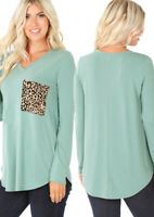Cute Mint Green Women's Long Sleeve V Neck W/ Leopard Print Pocket Tee Top Sm-3x