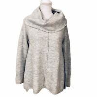 For Thee Chunky Soft Gray Cowl Neck Sweater Alpaca Blend Size Medium Oversized