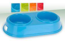 Doble Plástico Perro Gato Mascota Comedero Agua Comedero - 4 colores a elegir
