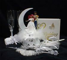 Disney Little Mermaid Prince Fairytale Wedding Cake Topper LOT Glasses  Server