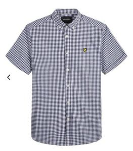 BNWT Lyle & Scott Vintage Slim Fit Gingham Shirt Navy White Check Size XS