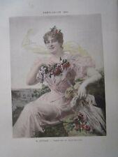 Gravure 19° E. Dupain : Premiére au rendez vous ( femme fleurs)