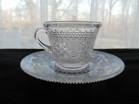 Indiana Glass Clear Sandwich 6 oz Cup & Saucer Under Plate