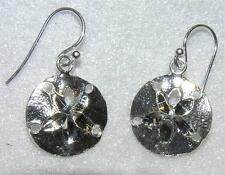 Diamond Cut 5/8 Inch Sand Dollar Dangle Sterling Silver Earrings French Wires