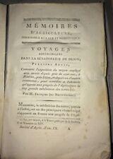 DIJON.AGRONOMIE. VOYAGE AGRONOMIQUE DANS LA SÉNATORERIE DE DIJON.1806