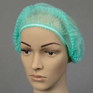 100x Green Mob Caps Disposable Hair Nets Kitchen Head Covering