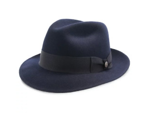 Stetson Navy Color Wool Fedora Made in Texas, Leather Sweat Band