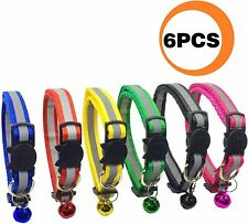 Paccomfet Funpet 6 Pcs Breakaway Cat Collar Reflective Nylon Strip Bell, Safe