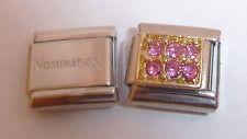 Las gemas de color rosa oro rectángulo 9mm encanto italiano + 1 X Genuino nominación clásico vínculo