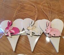 3 X Bunny Rabbit Hanging Decorations Decor Handmade Real Wood Pink Yellow