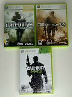 LOT OF 3 CALL OF DUTY XBOX 360 GAMES COD 4, MODERN WARFARE 2 AND 3