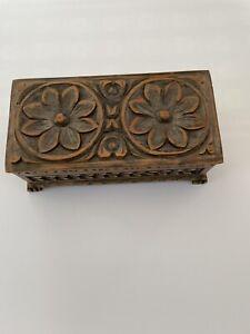 Vintage Handmade Carved Wooden Trinket Box Cottage Boho