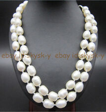 charming 10-12mm natural white freshwater pearl necklace 35 inches