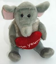 "Cute plush elephant holding an ""I´m Yours"" loveheart"