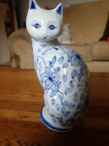 Blue & White Floral Oriental Style Ceramic Standing Cat - Excellent Condition