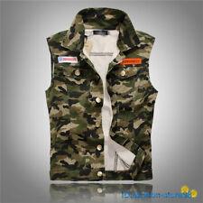 Hot Men's Vintage Denim Vest Jacket Studded Jean Vests Camouflage Waistcoat Coat