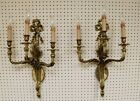 Finest Pair Louis XVI 3 Light Solid Brass Sconces Made In Spain