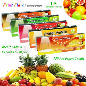 15 Packs Juicy Variety Fruit & Honey Flavored Cigarette Rolling Paper 750 Papers