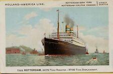 Holland-America Line T.S.S. Rotterdam New York Ship Boat Postcard B28
