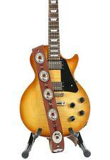"2 1/4"" Wide Medium Oval Concho Tan Saddle  Classic Guitar Strap"