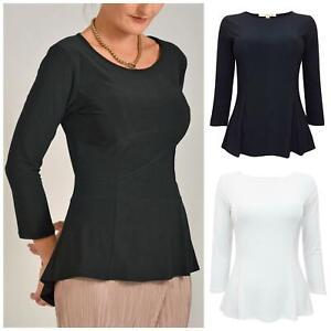 NOUGAT Jersey Peplum Scoop Neck Stretch Top 3/4 Sleeve Black White Size 16 18 20