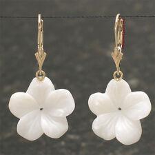 17 mm Plumeria, Mother of Pearl, 14k Yellow Gold Leverback Dangle Earrings TPJ