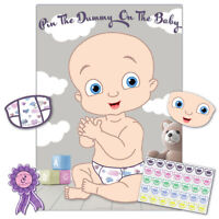 Baby Shower Game PIN THE DUMMY ON THE BABY - 35 player, boy/girl, unisex/neutral