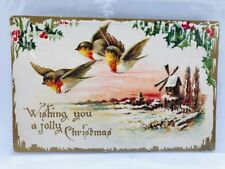 Vintage Unposted Birds Trees Snow Merry Christmas Postcard