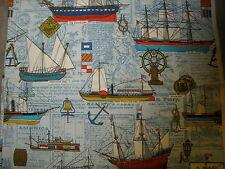 "Vintage House'N Home Fabrics and Draperies Nautical Ships 46"" x 77"" RARE"