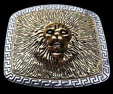 LION HEAD LEO THE KING GOLD GOLDEN FIRE BELT BUCKLE BOUCLE DE CEINTURE