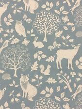 Woodland Duck Egg Fabric Remnant 100% Cotton 50cm x 40cm