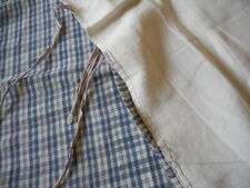 Antique Rustic French Loomed Linen Homespun Plaid Fabric Sham ~ Red Blue ~ Aged