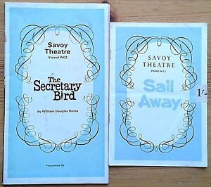 Selection of individual Savoy Theatre programmes 1960s, West End programme