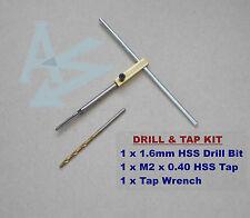 Drill Tap & Tap Wrench Set M2 x 0.4 HSS Tap + 1.6mm HSS Drill + Mini Tap Wrench