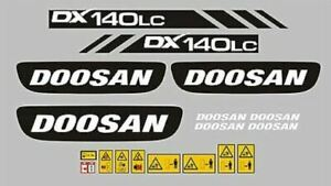 Doosan DX140 LC Digger Excavator sticker / decal kit with safety stickers Exact