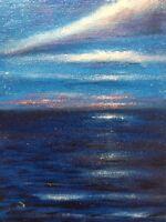 Original Oil Painting Night Ocean Mood Impressionism Canvas Board 6x8