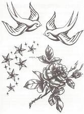 DESIGNER LARGE SHEET DOVE ROSE STARS temporary Tattoo