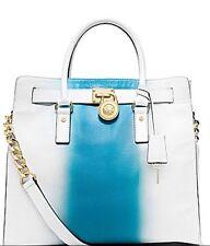 NWT MICHAEL KORS  LARGE HAMILTON NORTH SOUTH TOTE NS WHITE BLUE Retail $398