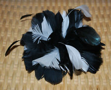 Feather Hair Accessory Pouf Gator Clip Pin Brooch Headpiece Black & White NWT$38