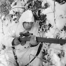WWII B&W Photo British Sniper Enfield Rifle  WW2 World War Two  England / 1085