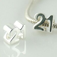 TWENTY ONE - 21st Birthday - Solid 925 sterling silver European charm bead